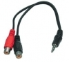 3.5mm Plug to 2 RCA Phono Sockets Short 20cm