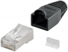 Black RJ45 Ethernet Plug & Boot Shielded
