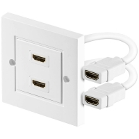 HDMI DOUBLE TWIN FACEPLATE WALL SOCKET SHIELDED CABLES