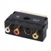 SWITCHED SCART ADAPTER S-Video 3 RCA GOLD PLATED